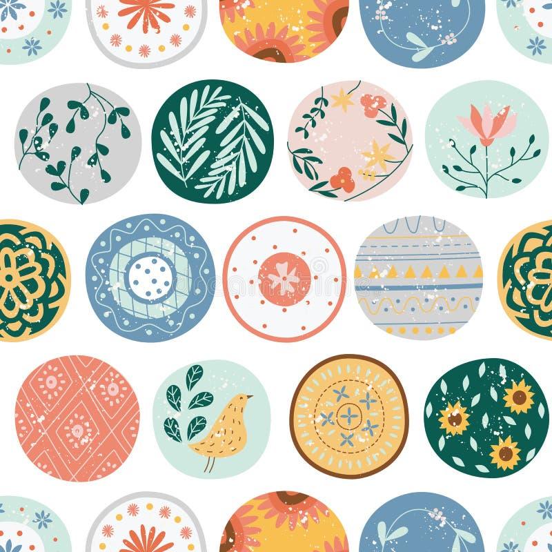 Modelo inconsútil de la cocina de círculos o del estilo plano de la historieta de las placas de cerámica ilustración del vector