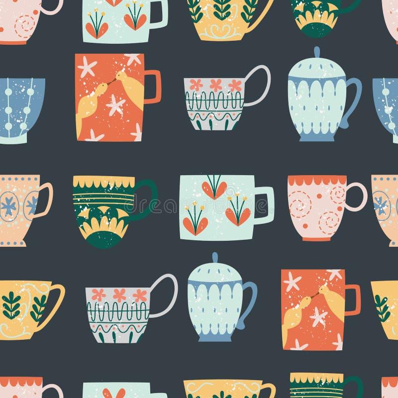 Modelo inconsútil de la cocina del estilo plano de la historieta de las tazas de cerámica ilustración del vector