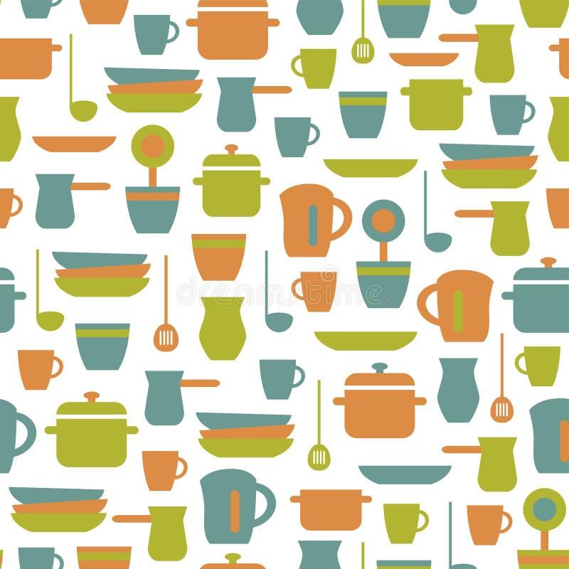 Modelo inconsútil de la cocina, fondo plano Ilustraci?n del vector ilustración del vector