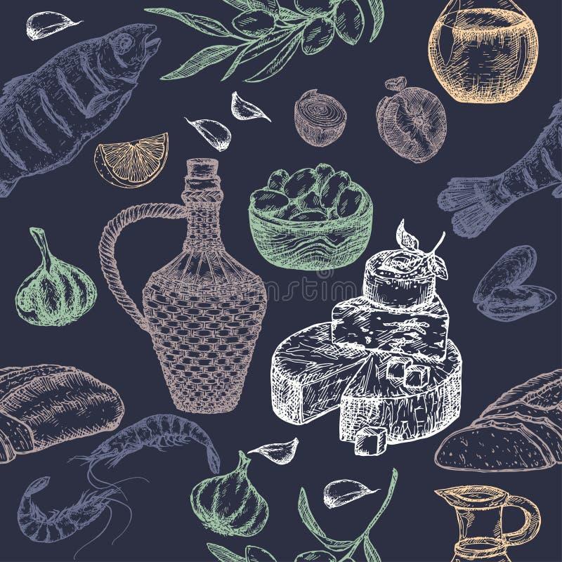 Modelo inconsútil de la cocina mediterránea en fondo azul ilustración del vector