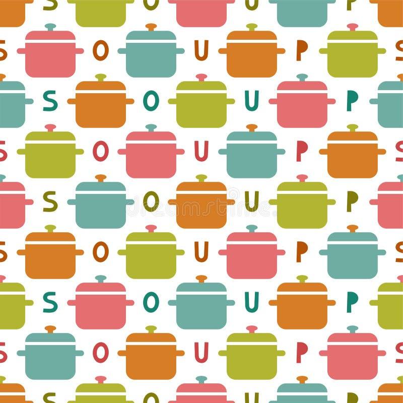 Modelo inconsútil de la cocina plana Fondo colorido simple de la cacerola de la sopa libre illustration
