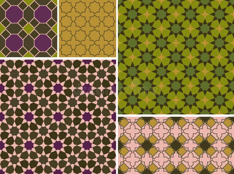 Modelo inconsútil de la colección marroquí, Marruecos Cobre de color de malva del oro del vino rosado del ornamento geométrico po libre illustration