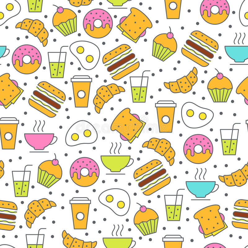 Modelo inconsútil de la comida del vector Ejemplo plano del desayuno del té ilustración del vector