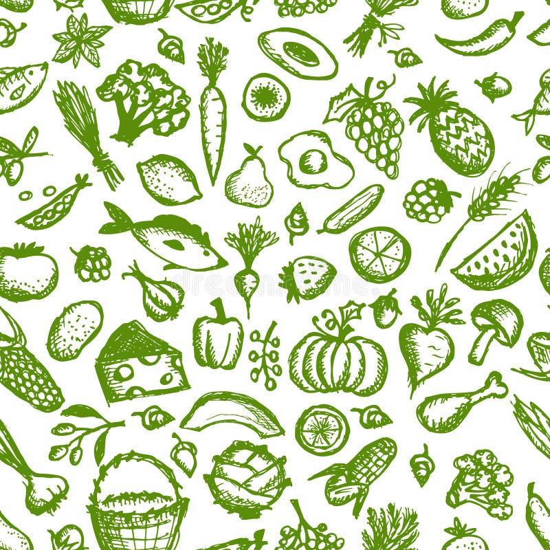 Modelo inconsútil de la comida sana, bosquejo para su stock de ilustración