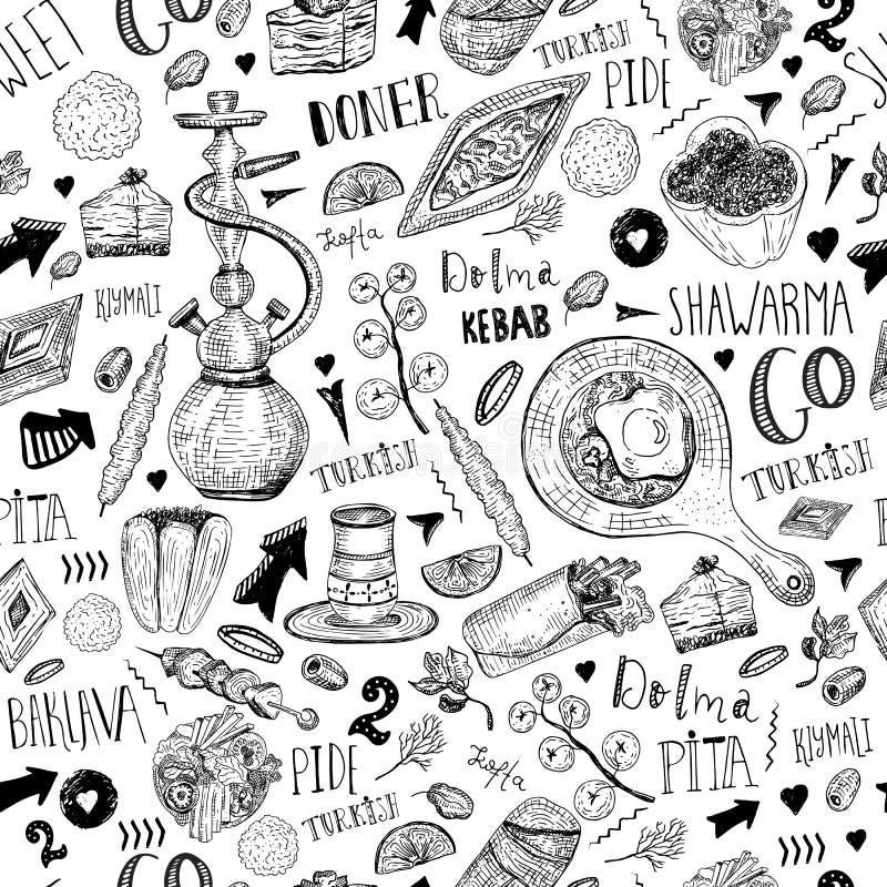 Modelo inconsútil de la comida turca moderna del bosquejo con las letras y bebidas con el kebab, Dolma, Shakshuka, shisha freehan stock de ilustración
