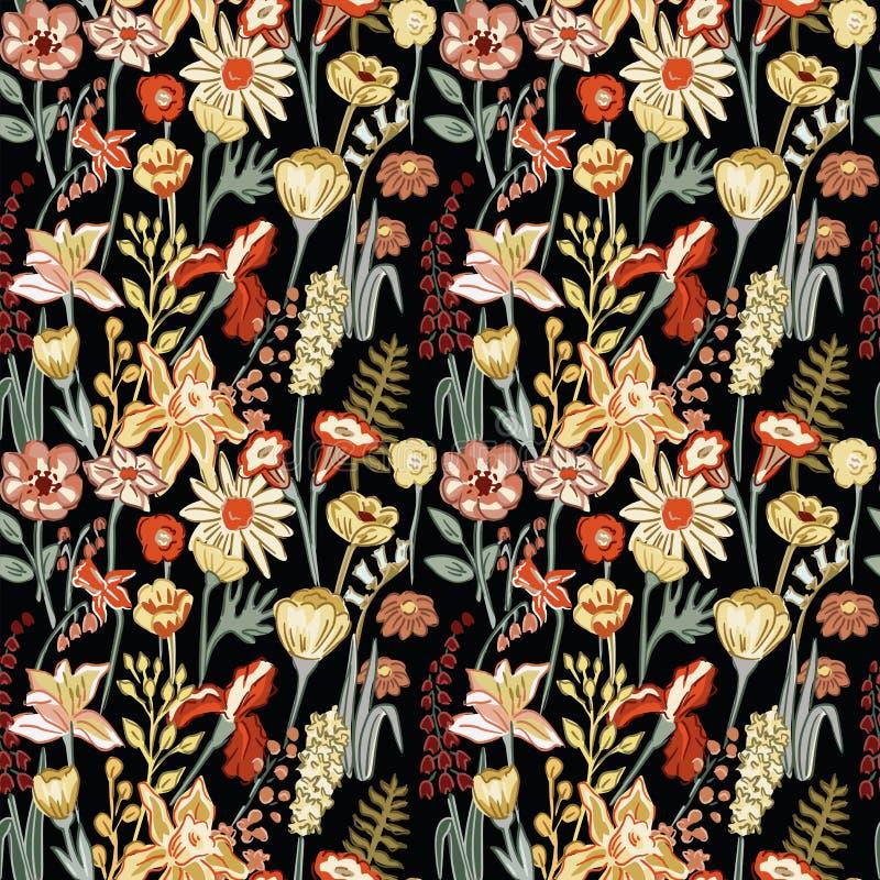 Modelo inconsútil de la composición de las flores de la primavera ilustración del vector