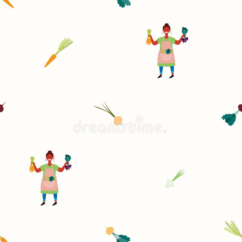 Modelo inconsútil de la cosecha linda de las verduras ilustración del vector