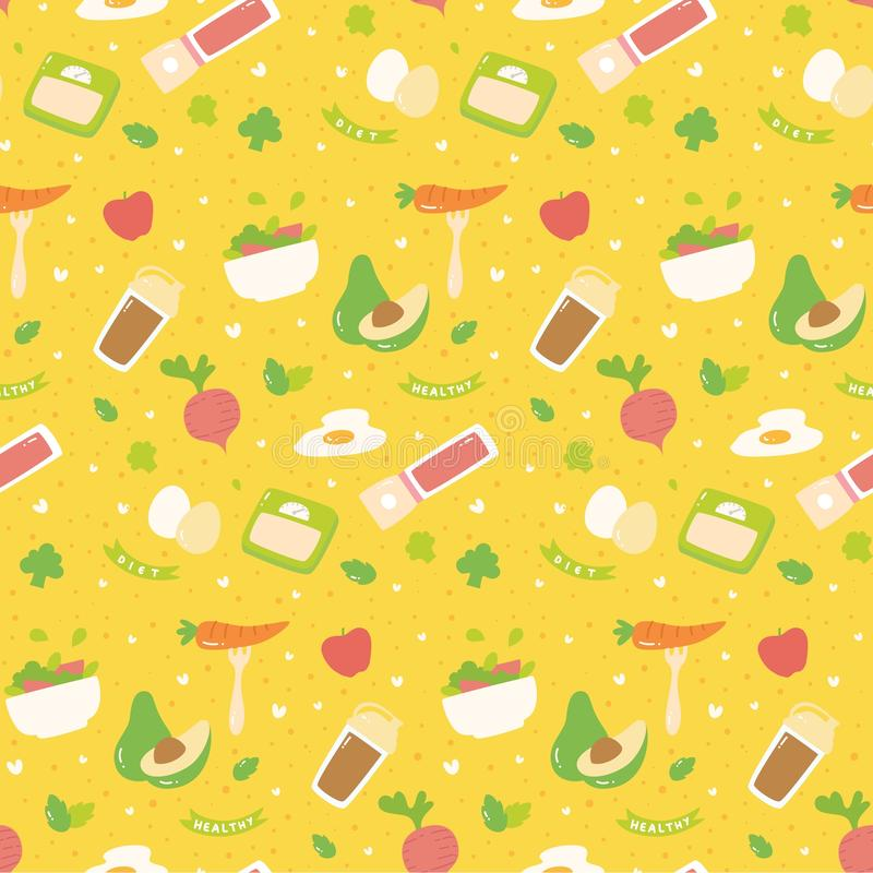 Modelo inconsútil de la diversa comida sana libre illustration