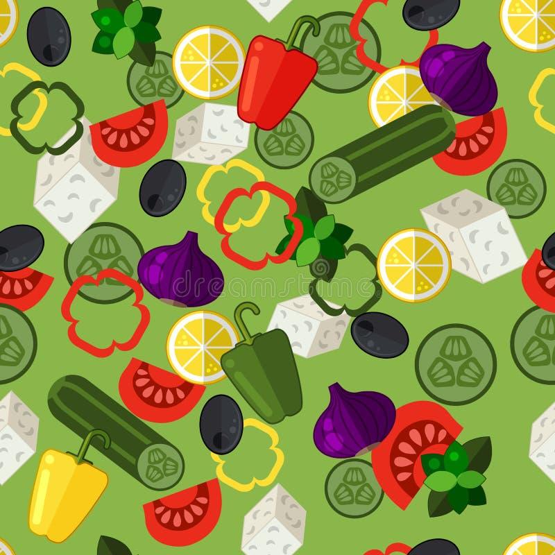 Modelo inconsútil de la ensalada griega con las aceitunas, los tomates, el pepino, el queso feta y la cebolla púrpura en el fondo libre illustration