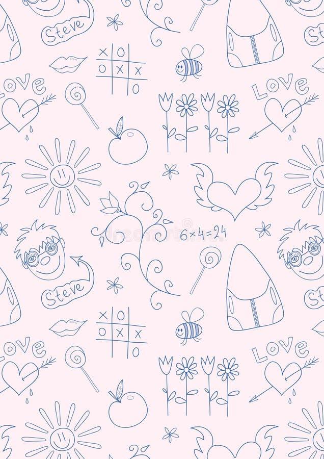 Modelo inconsútil de la escuela del doodle para las muchachas libre illustration