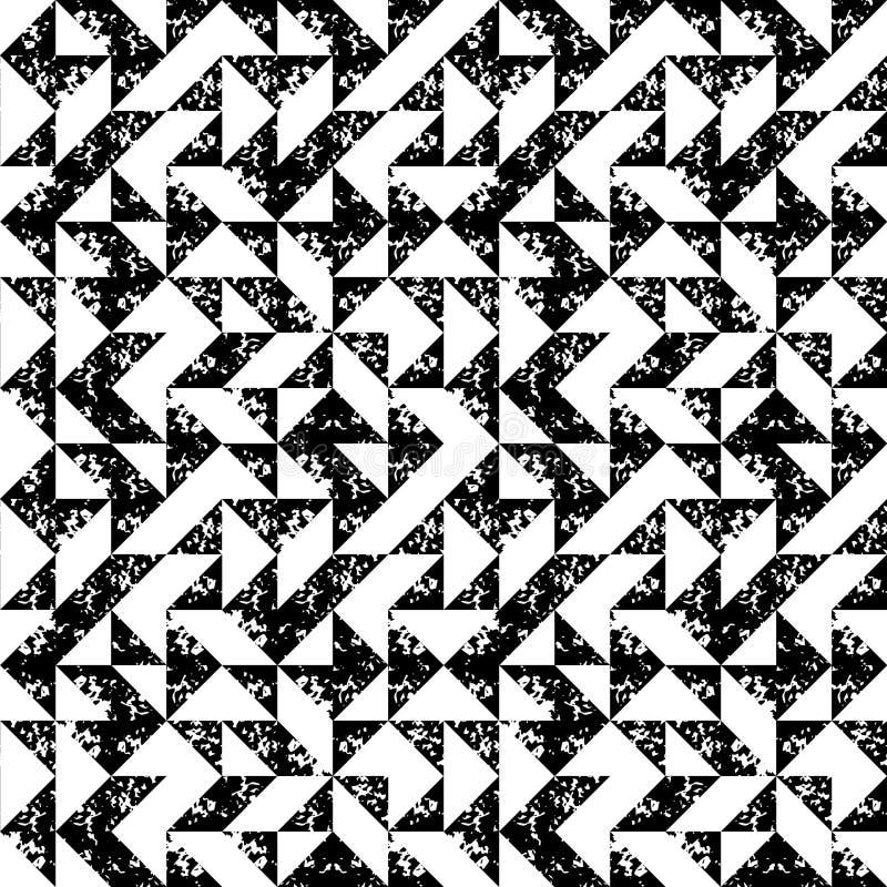 Modelo inconsútil de la esponja de la impresión del grunge geométrico blanco y negro de los triángulos, vector ilustración del vector