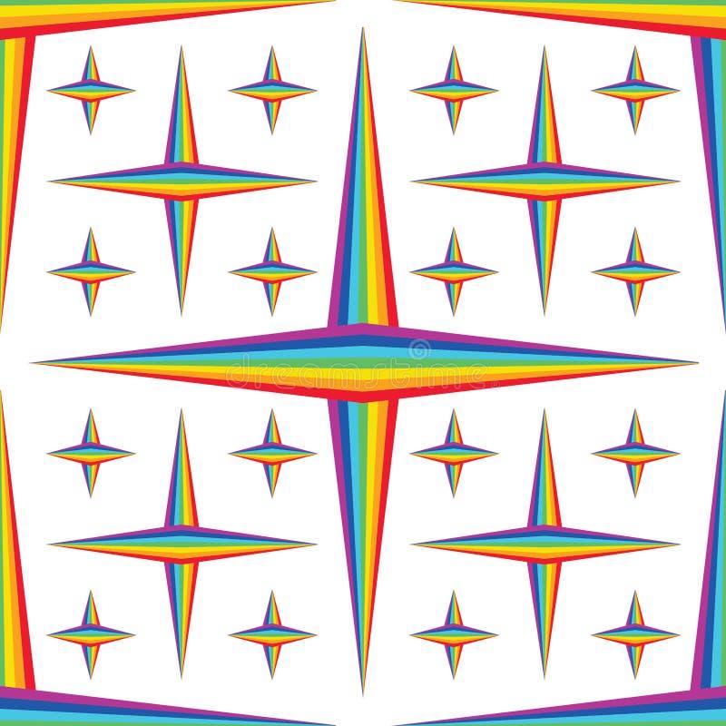 Modelo inconsútil de la estrella elegante del diamante de la simetría del arco iris ilustración del vector
