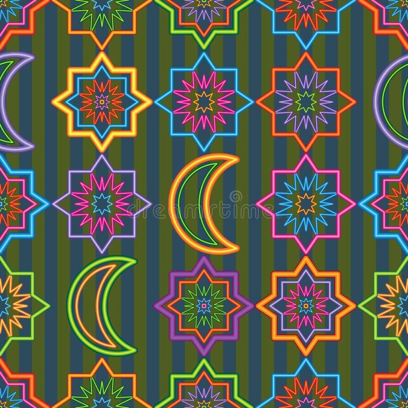 Modelo inconsútil de la estrella de Singapur Ramadan Kareem de la simetría de neón de la luna libre illustration