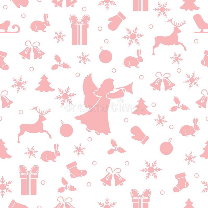 Modelo inconsútil de la Feliz Año Nuevo 2019 y de la Navidad Ejemplo con ángel, manoplas, conejo, trineo, regalo, copos de nieve, libre illustration