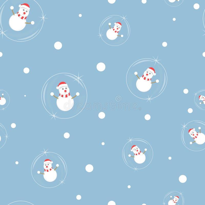 Modelo inconsútil de la Feliz Navidad, bola de cristal con el muñeco de nieve en el fondo azul, ejemplo del vector ilustración del vector