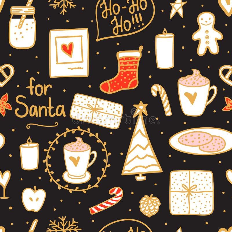 Modelo inconsútil de la Feliz Navidad de la noche Sistema del humor de los días de fiesta: calcetín, regalo, árbol, velas, tarro  ilustración del vector
