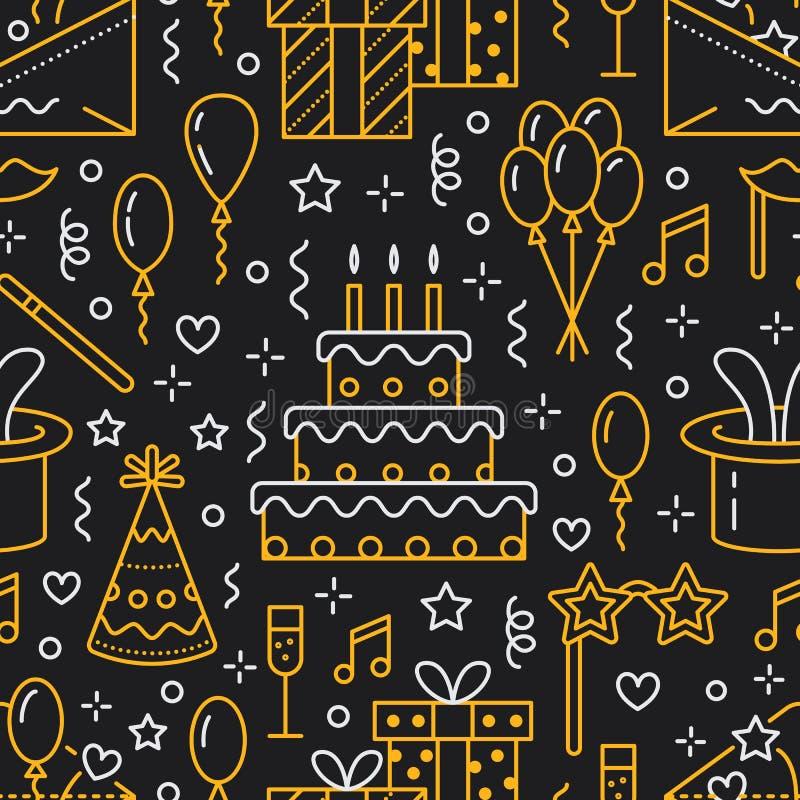 Modelo inconsútil de la fiesta de cumpleaños, línea ejemplo plana Vector los iconos de la agencia del evento, casandose la organi ilustración del vector