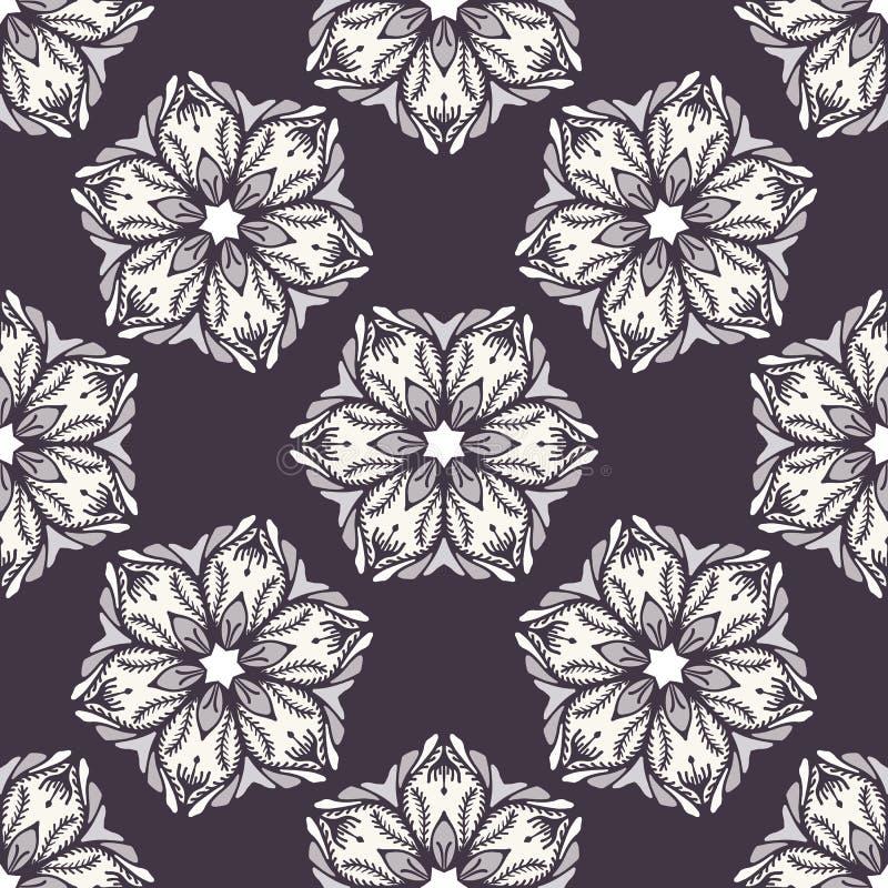 Modelo inconsútil de la flor abstracta exhausta de la Navidad de la mano Poinsetia estilizada floral Fondo blanco negro Vacacione ilustración del vector