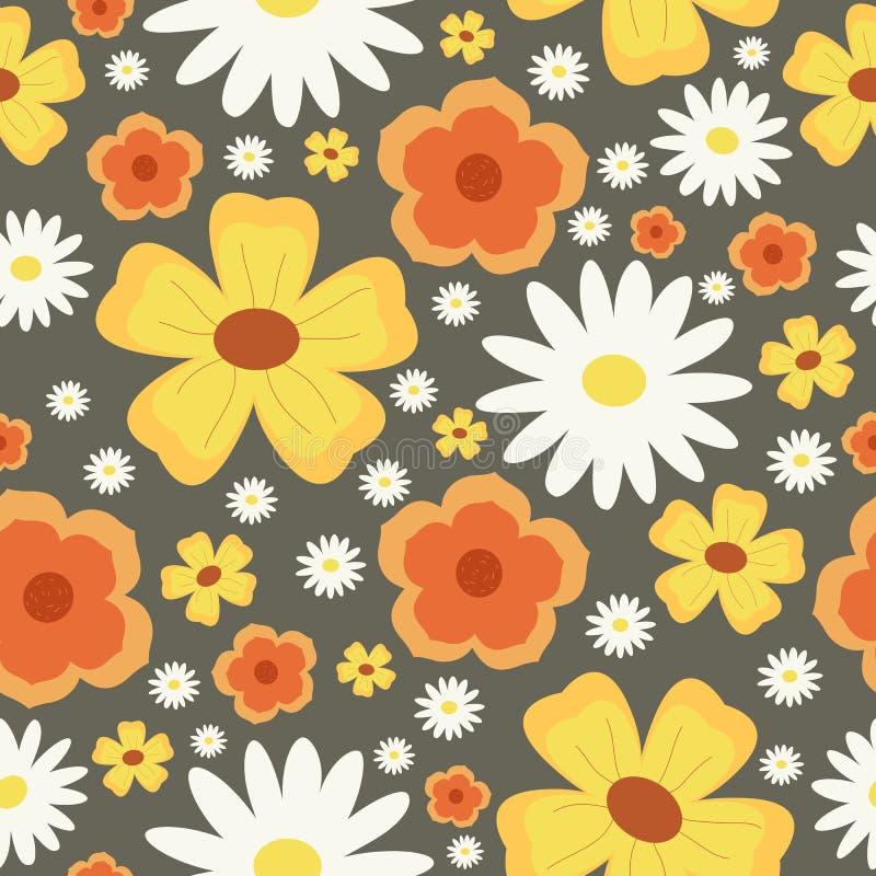 Modelo inconsútil de la flor Abstraiga el fondo floral Manzanilla Flores amarillas y anaranjadas libre illustration