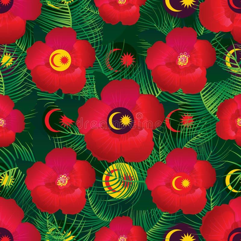 Modelo inconsútil de la flor del hibisco de la bandera de Malasia stock de ilustración