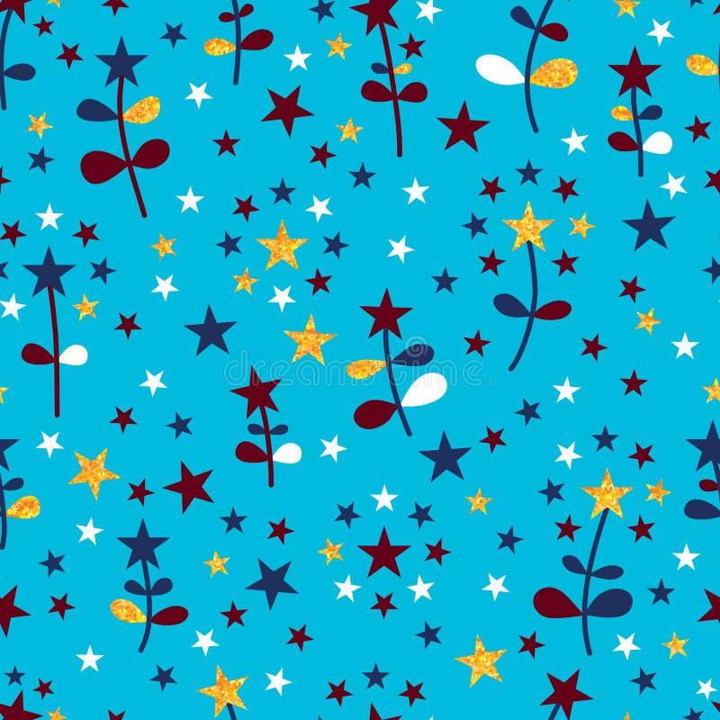 Modelo inconsútil de la flor de la estrella de los colores de los E.E.U.U. stock de ilustración