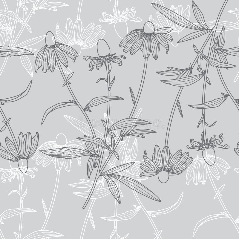 Modelo inconsútil de la flor floral monocromática del Rudbeckia en Grey Background stock de ilustración