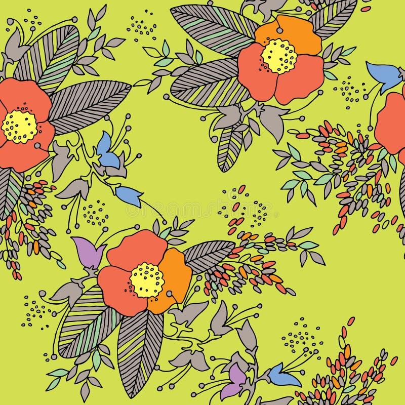 Modelo inconsútil de la flor Fondo floral drenado mano stock de ilustración