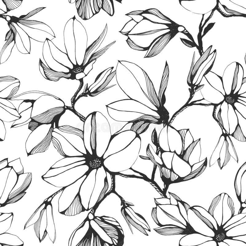 Modelo inconsútil de la flor de la magnolia Ejemplo dibujado mano de la tinta stock de ilustración