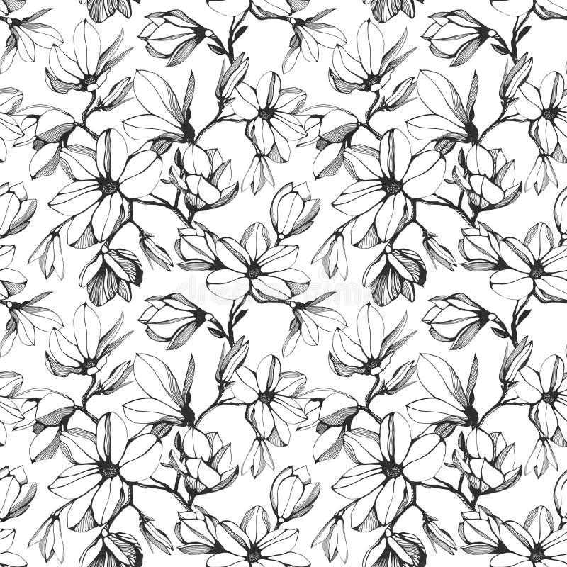 Modelo inconsútil de la flor de la magnolia en un fondo blanco Mano stock de ilustración
