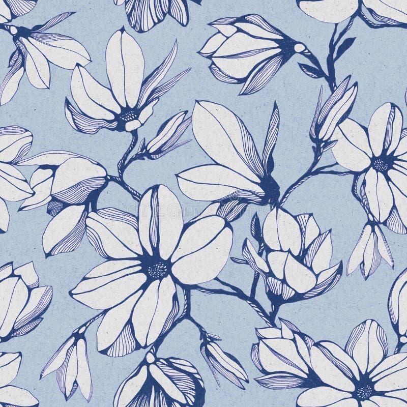 Modelo inconsútil de la flor de la magnolia en un fondo de papel azul stock de ilustración