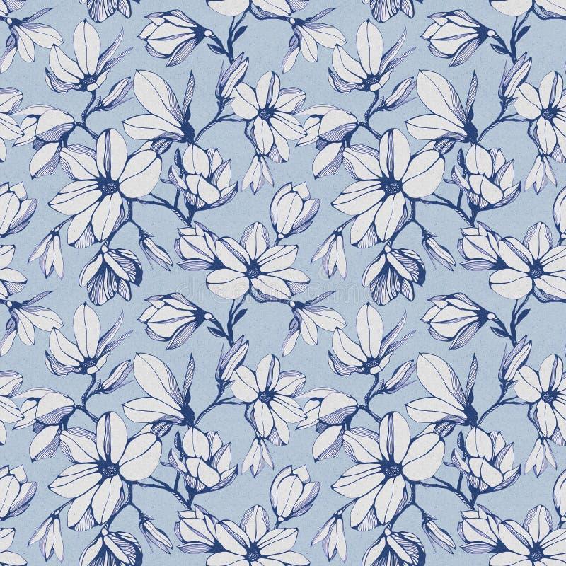 Modelo inconsútil de la flor de la magnolia en un fondo de papel azul ilustración del vector