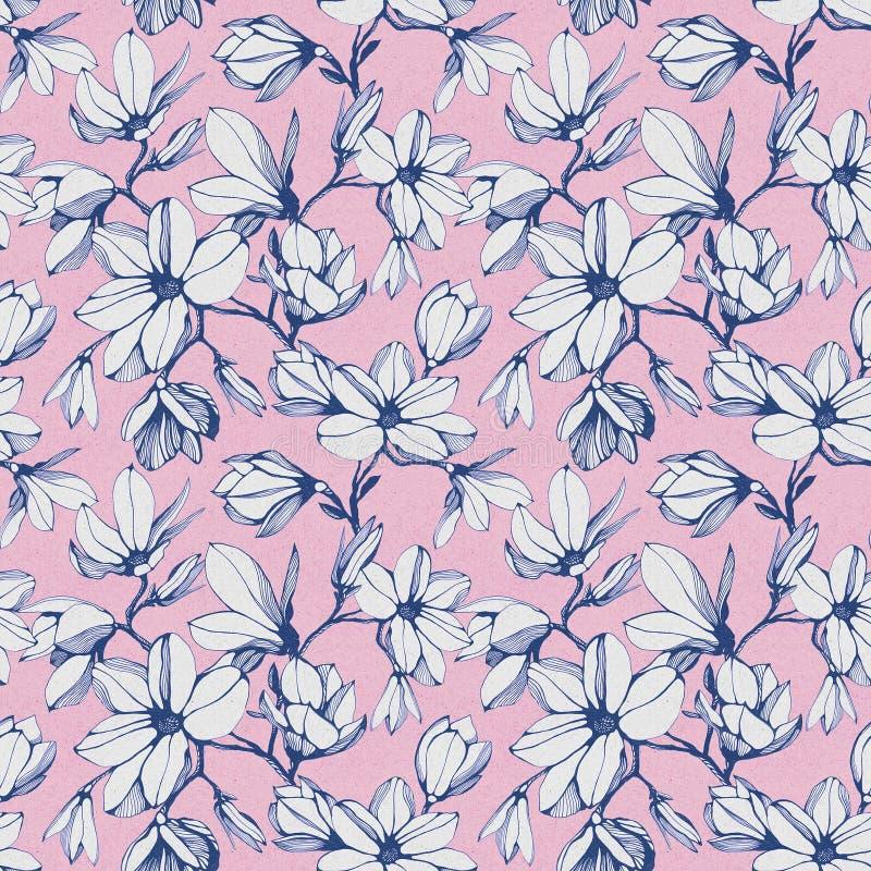 Modelo inconsútil de la flor de la magnolia en un fondo de papel rosado stock de ilustración