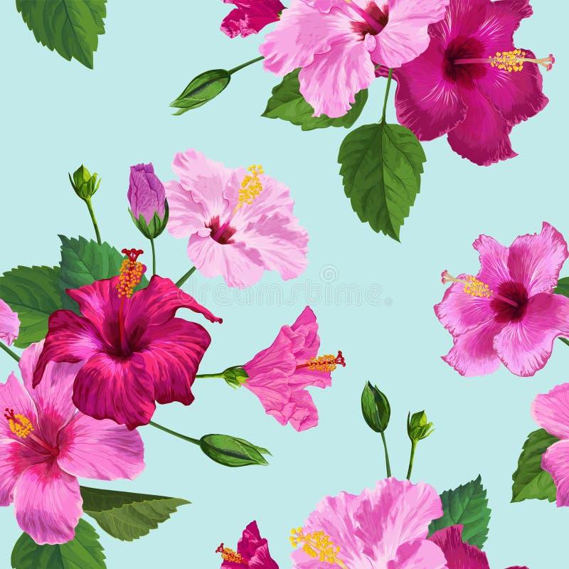 Modelo inconsútil de la flor púrpura tropical del hibisco Fondo floral del verano para la materia textil de la tela, papel pintad ilustración del vector