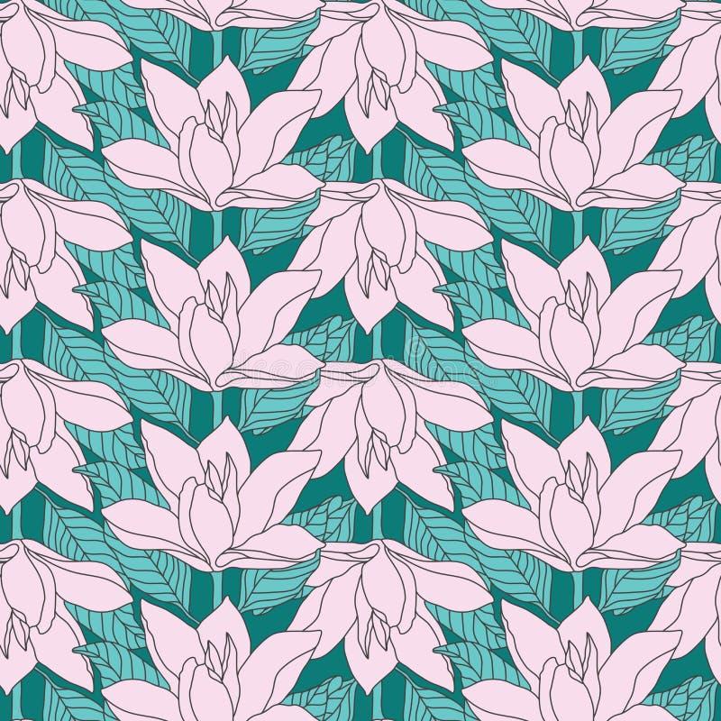 Modelo inconsútil de la flor rosada de la magnolia Papel pintado único del diseño stock de ilustración