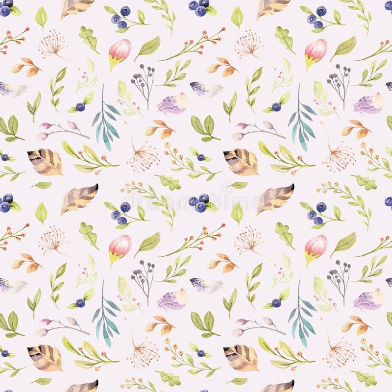 Modelo inconsútil de la floración floral de la acuarela en colores en colores pastel Fondo inconsútil con la flor y las hojas, bo libre illustration