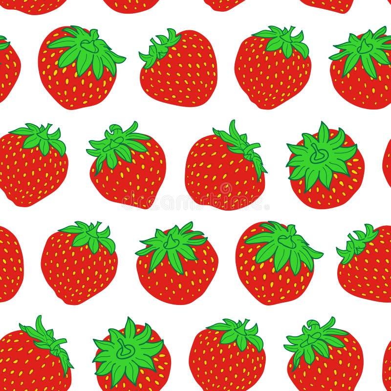 Modelo inconsútil de la fresa roja del vector en blanco libre illustration