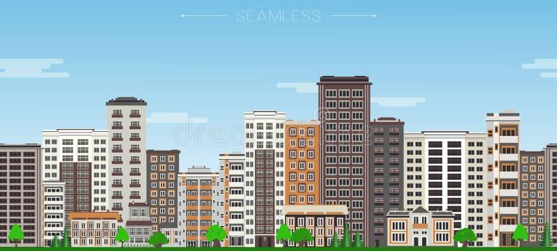 Modelo inconsútil de la frontera del horizonte de la ciudad con las casas de gran altura y los árboles verdes libre illustration
