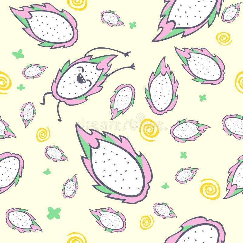 Modelo inconsútil de la fruta del dragón, personaje de dibujos animados, pitaya lindo del kawaii, ejemplo del vector libre illustration