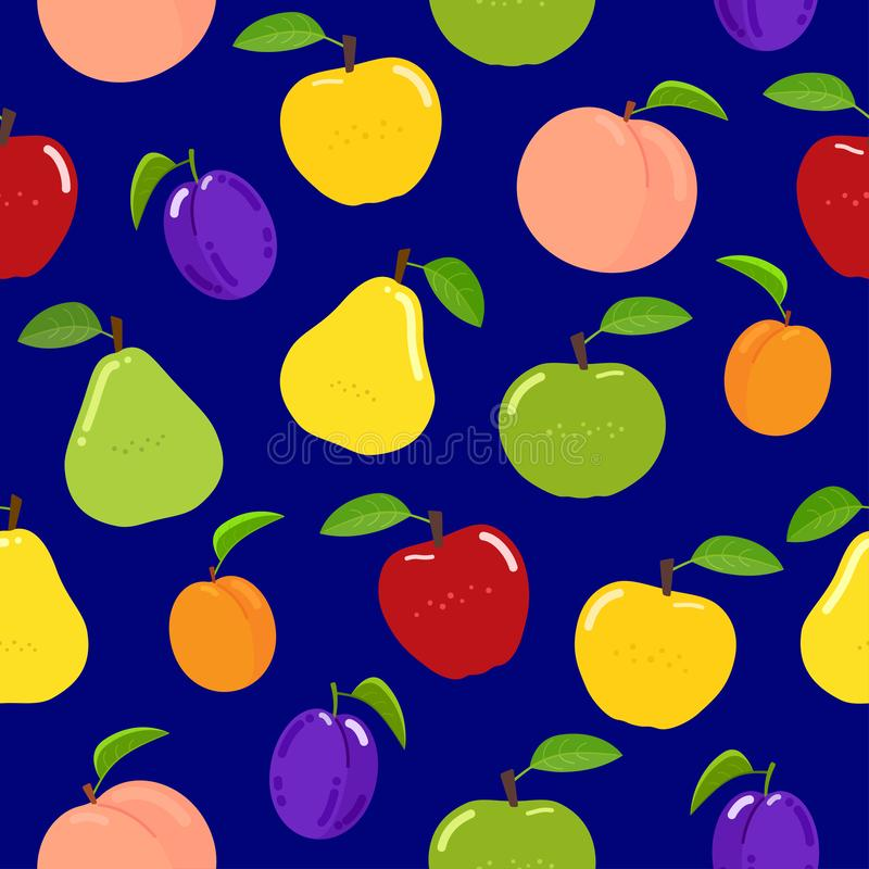Modelo inconsútil de la fruta en fondo azul stock de ilustración