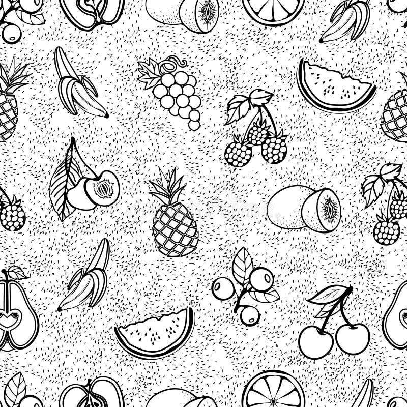 Modelo inconsútil de la fruta, fondo del vector Frutas y bayas negras del contorno en un fondo blanco, ejemplo monocromático Para stock de ilustración