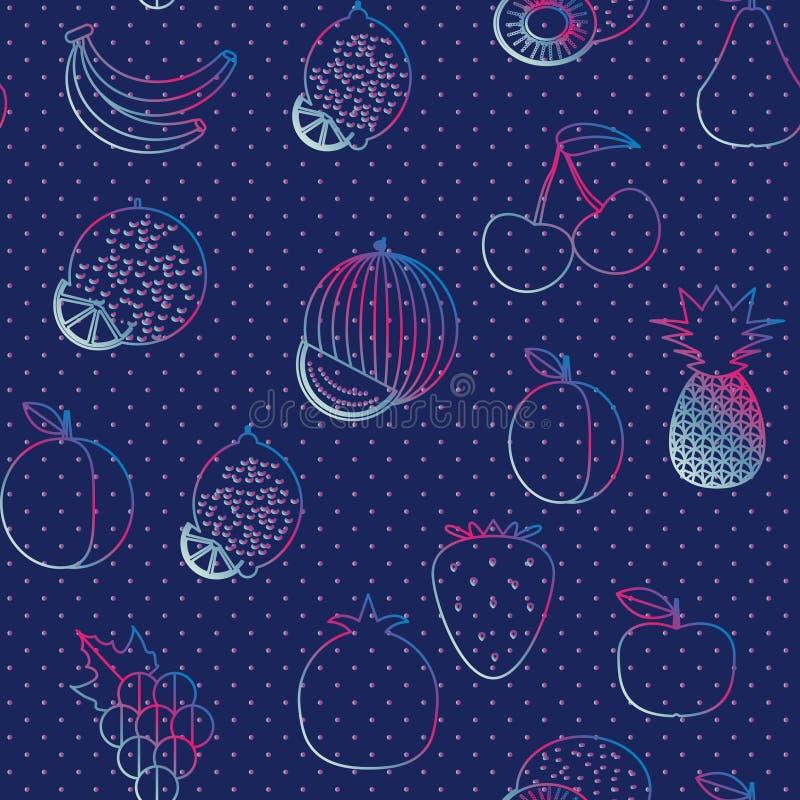 Modelo inconsútil de la fruta La imagen de frutas y de bayas ilustración del vector