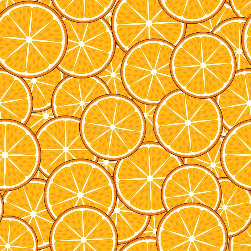 Modelo inconsútil de la fruta: rebanadas anaranjadas ilustración del vector