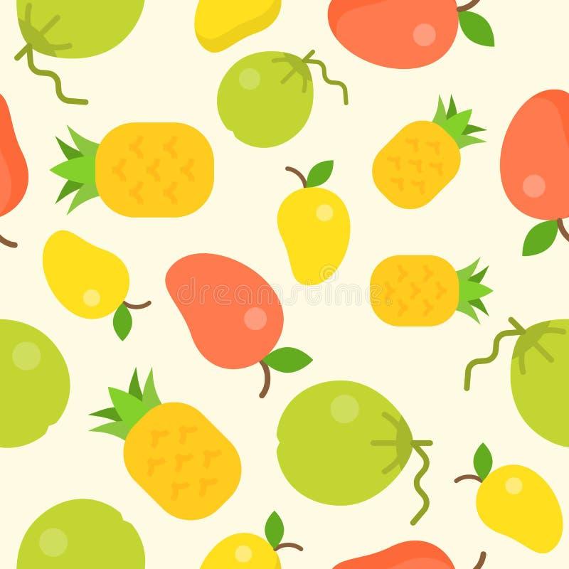 Modelo inconsútil de la fruta tropical, coco, piña, mango para u stock de ilustración