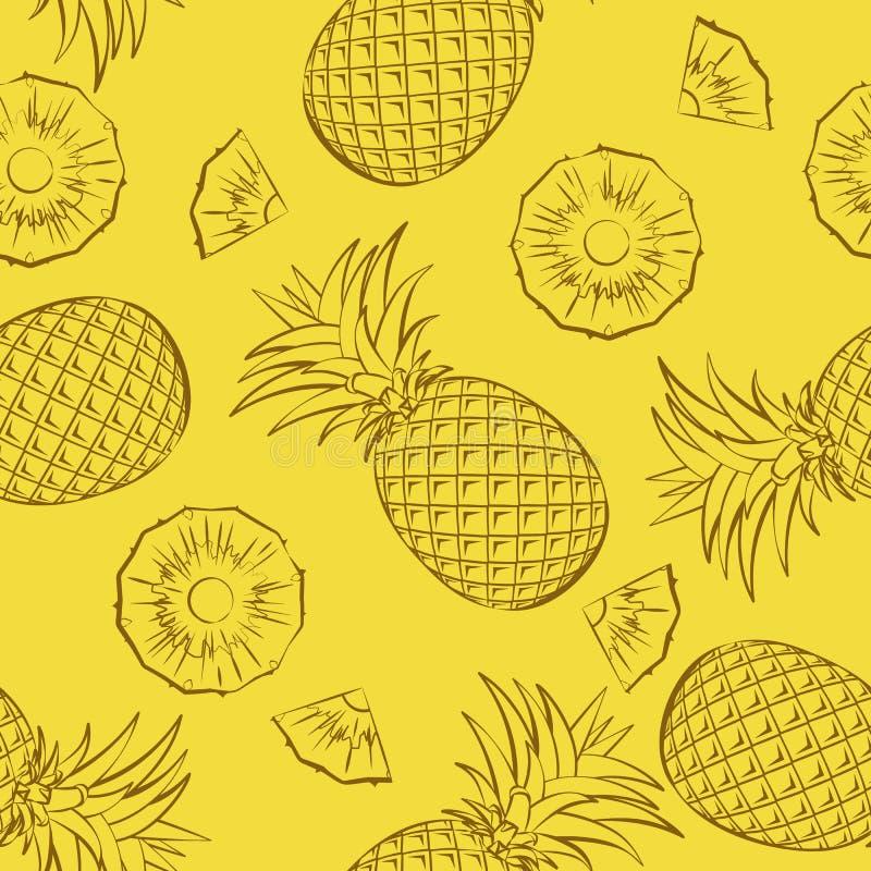Modelo inconsútil de la fruta tropical Piñas enteras y cortadas en un fondo amarillo ilustración del vector
