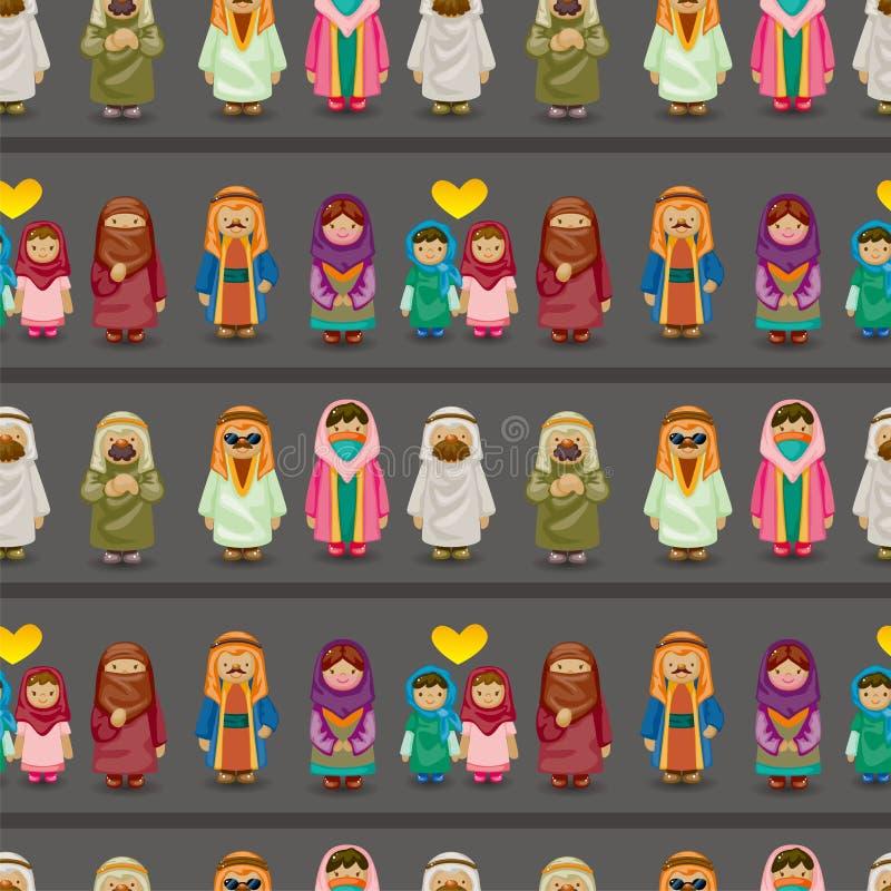 Modelo inconsútil de la gente árabe de la historieta libre illustration
