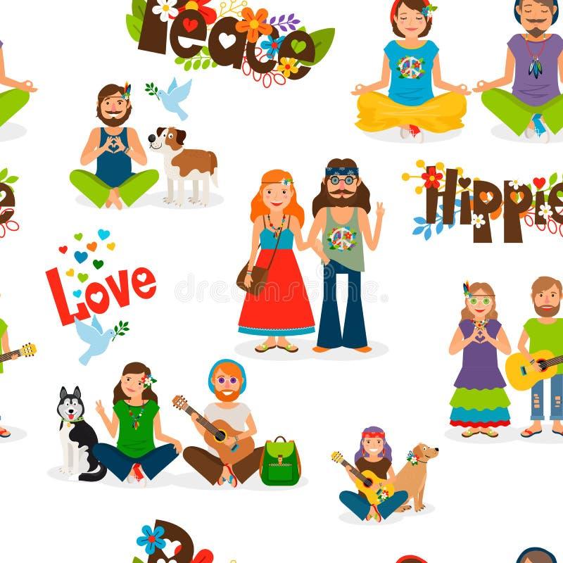 Modelo inconsútil de la gente del hippie stock de ilustración