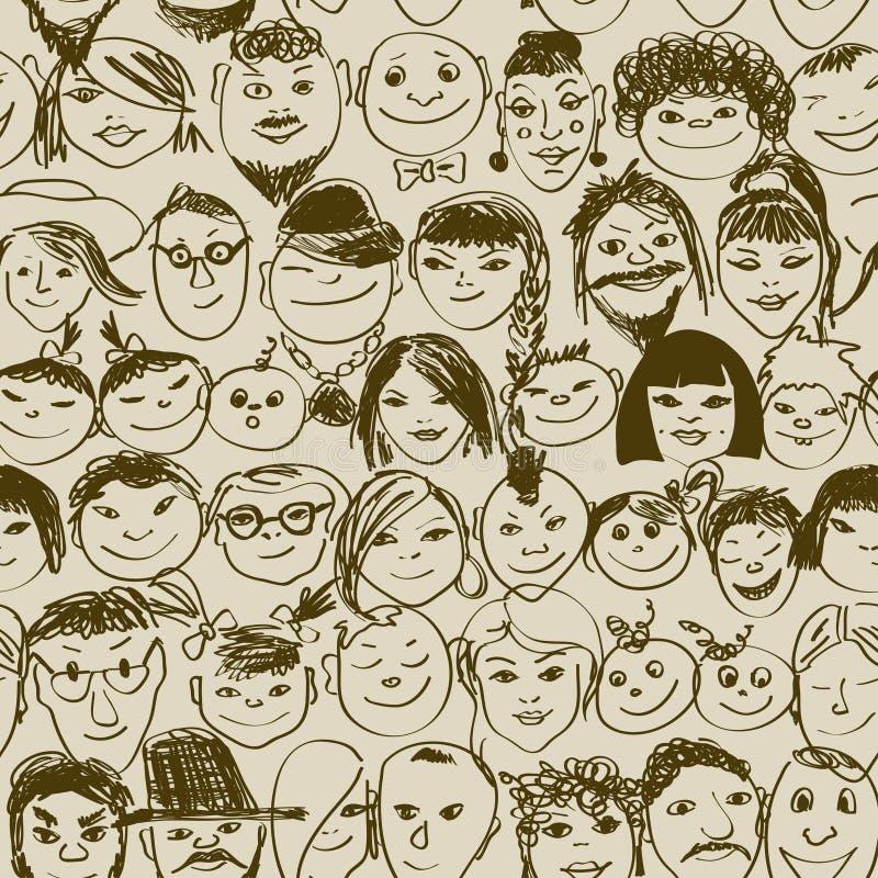 Modelo inconsútil de la gente sonriente de la muchedumbre libre illustration