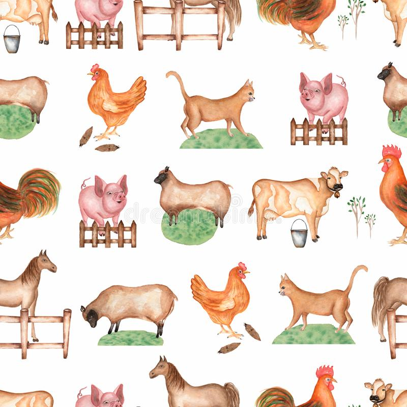 Modelo incons?til de la granja de la acuarela Objetos exhaustos de la mano: gato, cerdo, cerca, hierba, oveja, caballo, gallo, va libre illustration