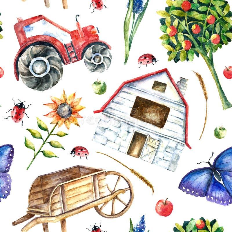 Modelo inconsútil de la granja orgánica de la acuarela stock de ilustración