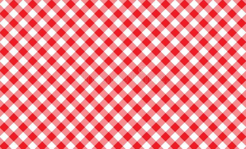 Modelo inconsútil de la guinga roja y blanca Textura del Rhombus/del squ fotos de archivo libres de regalías